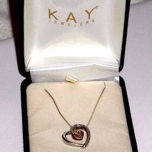 GRAD GIFT 10K Gold 925 Diamond Necklace